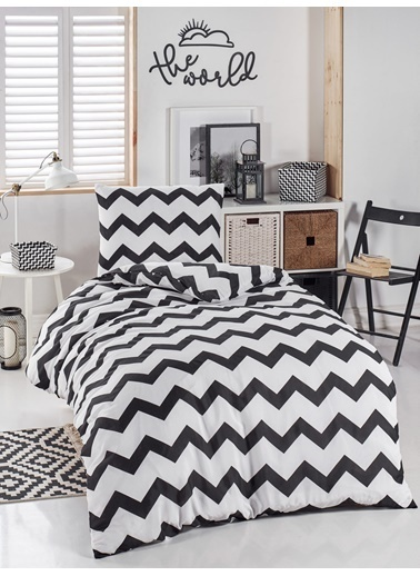 Eponj Home Junior Nevresim Seti Tek Kişilik SmallZigzag Siyah-Beyaz Siyah
